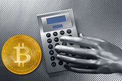 Calculator with bitcoin btc coin and futuristic hand Royalty Free Stock Images