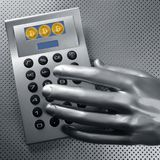 Calculator with bitcoin btc coin and futuristic hand Stock Image