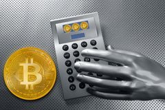 Calculator with bitcoin btc coin and futuristic hand Stock Images