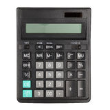 Calculator. Black office calculator isolated on the white background. With clipping path Stock Image
