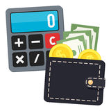 Calculator & Black Wallet Flat Icon on White Royalty Free Stock Images