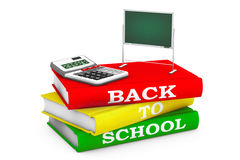 Calculator with Blackboard over Books with Back to School sign. Calculator with Blackboard over Books with Back to School sign on a white background. 3d Stock Image