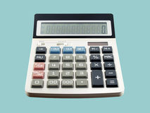 Close up white digital calculator with blue tax calculate button and zero number on screen isolated on blue background. Office equipment for calculating the royalty free stock photos