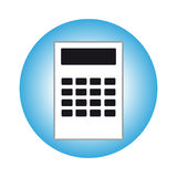 Calculator in blue ring on white background Stock Images