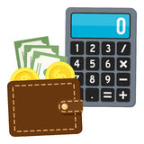 Calculator & Brown Wallet Flat Icon on White. Small calculator with brown leather wallet full of money flat icon, isolated on white background. Eps file Royalty Free Stock Photos