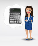 Calculator in bubble idea concept of woman in suit  Royalty Free Stock Photography