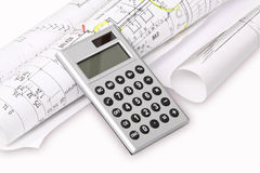 Calculator, building plans Royalty Free Stock Photos
