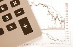 Calculator Business Chart - Crash. Business Chart - Crash, Decreasing Graph, Calculator royalty free stock photo