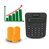 Calculator and business graph Royalty Free Stock Photography