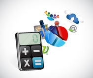 Calculator business icons illustration. Design over a white background Stock Image