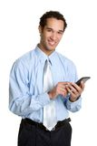 Calculator Business Man. Smiling business man holding calculator Stock Images