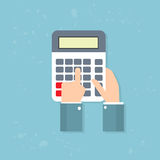 Calculator Business Man Hand Accountant. Vector Illustration Royalty Free Stock Photo