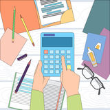 Calculator Business Man Hand Office Desk Accountant. Vector Illustration Royalty Free Stock Photos