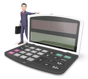 Calculator Businessman Indicates Entrepreneur Earnings And Figures 3d Rendering. Character Businessman Representing Finance Calculation And Math 3d Rendering Stock Photography