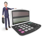 Calculator Businessman Indicates Executive Calculation And Entrepreneur 3d Rendering. Character Businessman Showing Math Earnings And Count 3d Rendering Stock Photography