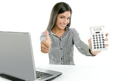 Calculator businesswoman happy for good stats Stock Photos