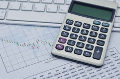 Calculator button plus on keyboard and graph paper, accounting b. Ackground Royalty Free Stock Photo