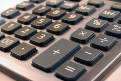 Calculator buttons. Accounting silver calculator buttons details close up Royalty Free Stock Images