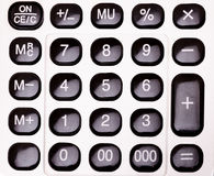 Calculator buttons. Close-up of an old electronic calculator buttons Stock Photography
