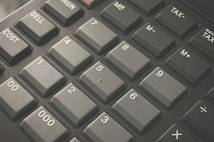 Calculator buttons in a close-up shot Stock Photo