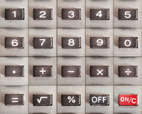 Calculator Buttons Set. All buttons from an old calculator, numbers and math operations, on and off. Complete set Stock Photography