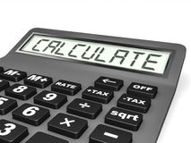 Calculator with CALCULATE on display. Stock Photography