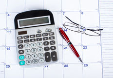The calculator and calendar Royalty Free Stock Photography