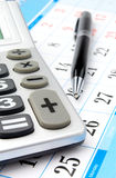 Calculator and calendar Royalty Free Stock Image