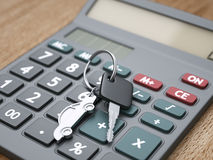 Calculator and car keys Royalty Free Stock Photography