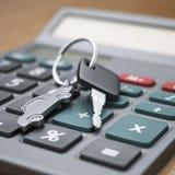 Calculator and car keys Royalty Free Stock Photo