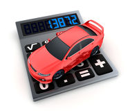 Calculator and car Stock Image