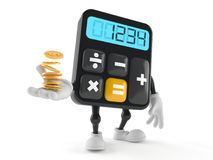 Calculator character with coins. On white background Royalty Free Stock Photography