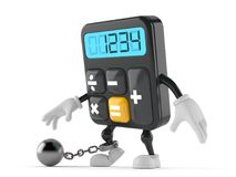 Calculator character with prison ball. On white background Stock Photos