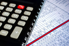Calculator and chart Royalty Free Stock Photography