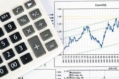 Calculator and chart Stock Photo