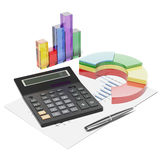 Calculator, chart and graphics Stock Images