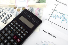 Calculator, charts, pen, business workplace Stock Image