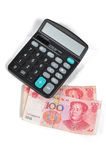 Calculator and chinese currency Royalty Free Stock Image