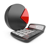 Calculator and circle chart. 3D icon. On white background Royalty Free Stock Images