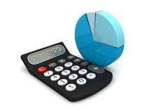 Calculator and circle chart. 3D icon Royalty Free Stock Photo