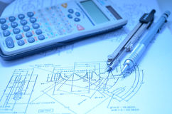 Calculator and circle tool. And pencil on paper drawing royalty free stock photos