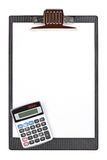 Calculator and clipboard Stock Photo