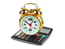 Calculator and clock Royalty Free Stock Image
