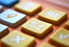 Calculator close-up shot focus on percentage Stock Photography