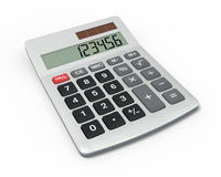Calculator, close-up view. Close-up of calculator with shiny metal casing on white background. Includes pro clipping path stock illustration
