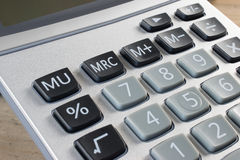 Calculator. Close up view of office calculator. Mathematics equipment in silver and black colors stock photo