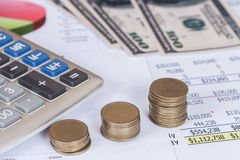 Calculator , coin and business diagram Stock Photography