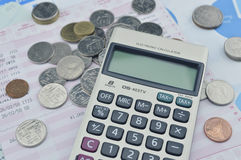 Calculator and coin on saving book Royalty Free Stock Photo