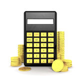 Calculator and coins. Black calculator with golden dollar coins isolated on a white background Stock Image