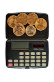 Calculator and coins. One dollar (U.S.), one euro, one grivna (Ukraine Stock Image